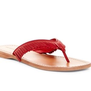NEW 8.5 Frye Perry Red Fringe Leather Flip Flop